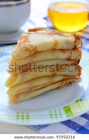 Pancakes with curd - stock photo