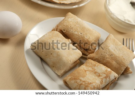 Pancakes with meat filling, russian traditional food