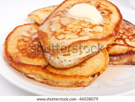 pancakes with  melted butter - stock photo