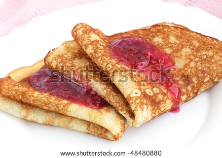 Pancakes with raspberry jam/ the breakfast of the house - stock photo