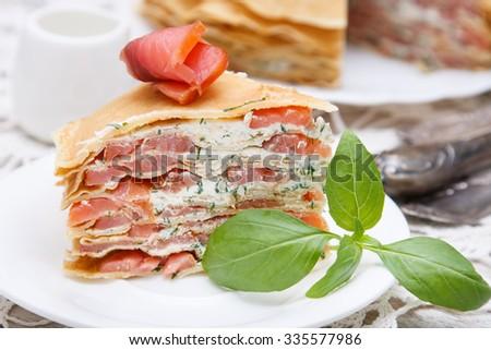 Pancakes  with smoked salmon and cream cheese - stock photo