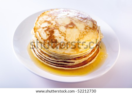 pancakes with syrup - stock photo