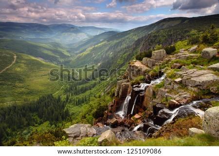 Pancavsky waterfall in Krkonose mountain - Czech republic - stock photo