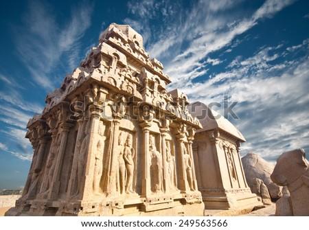 Panch Rathas Monolithic Hindu Temple in Mahabalipuram. Great South Indian architecture, UNESCO World Heritage Site. South India, Tamil Nadu, Mahabalipuram  - stock photo