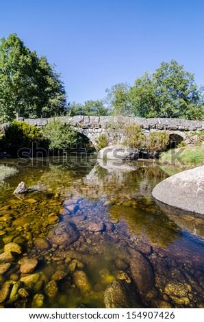 Panchorra medieval granite stone bridge in Resende, north of Portugal. - stock photo