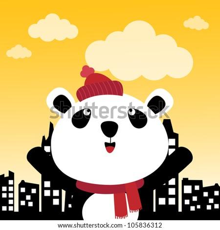 Panda in the city - stock photo