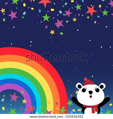 Panda in the night sky with rainbow