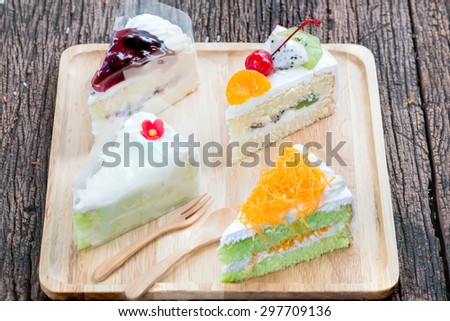Pandan cake and egg threads, fruits cake, coconut cake and  Blueberry Cheesecake