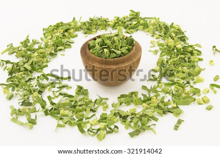 Pandan leaf or screw pine in wooden bowl. The long green leaf finely shredded to make herbal tea for its sweet fragrance and medicinal benefit in combat body heat, treat fever, headache and cough.  - stock photo