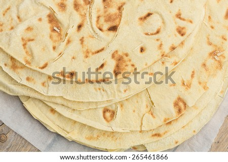 Pane Carasau, typical bread of Sardinia, Italy - stock photo