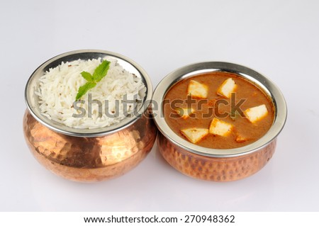 Paneer Butter Masala with rice, Indian Dish  - stock photo