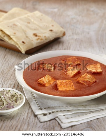Paneer Makhani curry with rumali roti, indian food, India - stock photo