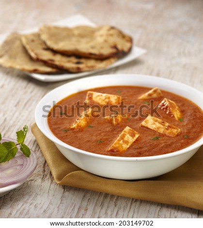 Paneer Tikka Masala curry with roti, Indian food, India - stock photo