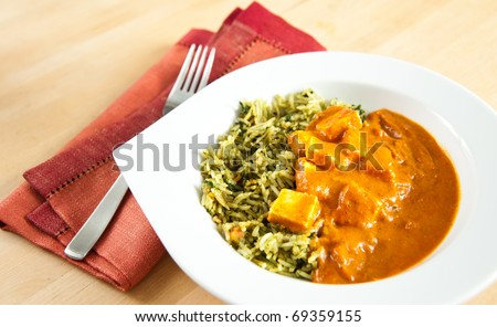 Paneer Tikka Masala with Spinach Basmati Rice - stock photo