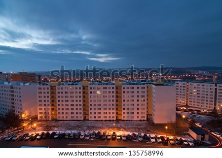 Panel building in Brno at dawn - stock photo