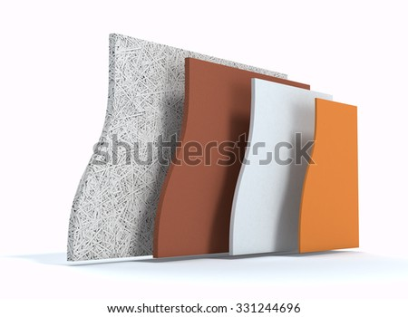 panels for thermal insulation of a wall, all layers visible (3d render)