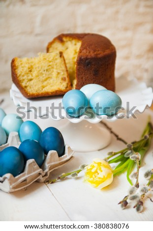 panettone and easter eggs