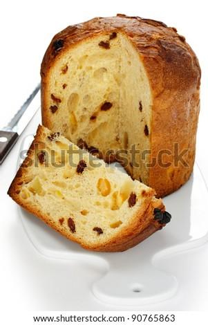 panettone, italian christmas bread - stock photo