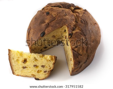 Panettone, italian christmas cake, isolated on white  - stock photo