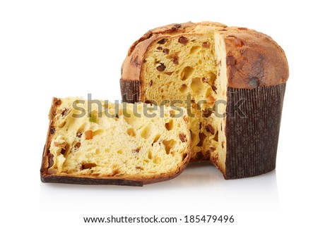 Panettone, italian Christmas cake isolated on white, clipping path included - stock photo