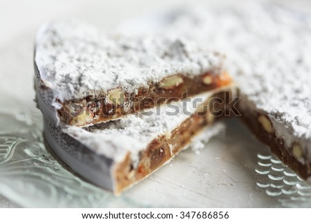 Panforte di Siena (Christmas cake from Italy) - stock photo