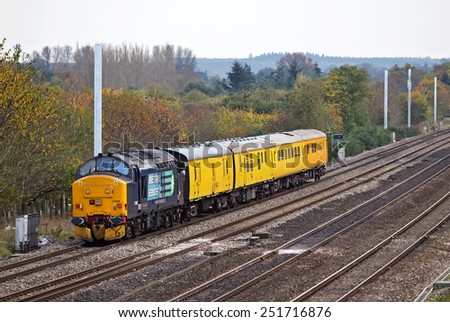 PANGBOURNE, UK - OCTOBER 30: A DRS operated test train runs measuring equipment over the rails as part of the electrification project of the GWR network on October 30, 2014 in Pangbourne - stock photo