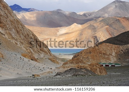 Pangong lake in the valley, Ladakh, India