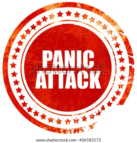 panic attack, grunge red rubber stamp with rough lines and edges - stock photo