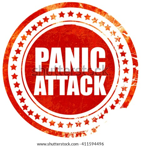 panic attack, red grunge stamp on solid background - stock photo