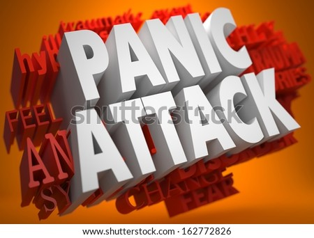 Panic Attack - the Words in White Color on Cloud of Red Words on Orange Background. - stock photo