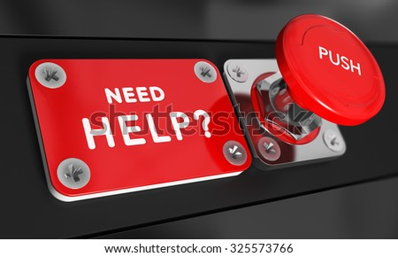 Panic button with the text NEED HELP on the left, Concept image for illustration of serious problem solving. - stock photo