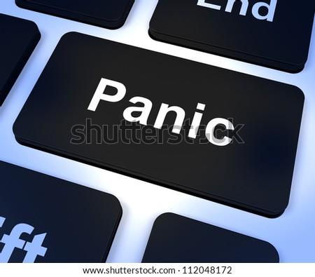 Panic Computer Key Shows Trauma Stress And Hysteria - stock photo