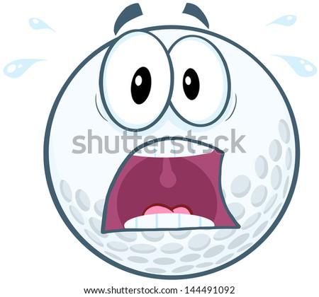 Panic Golf Ball Cartoon Mascot Character. Vector version also available in gallery - stock photo