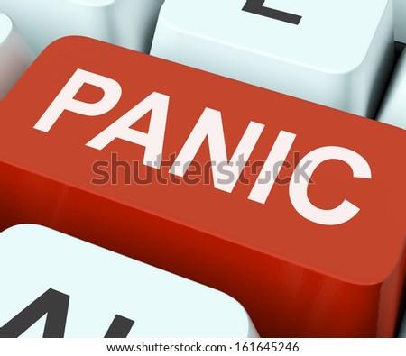 Panic Key Showing Panicky Terror Or Distress - stock photo