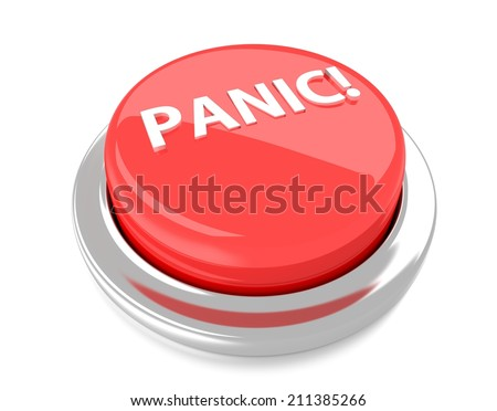 PANIC! on red push button. 3d illustration. Isolated background.