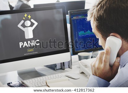 Panic Worried Stressed Afraid Fear Phobia Anxiety Concept - stock photo