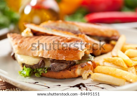 Panini - Italian Sandwich with French Fries and Vegetables - stock photo