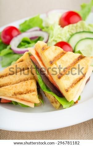 Panini, Sandwich, Salad. - stock photo