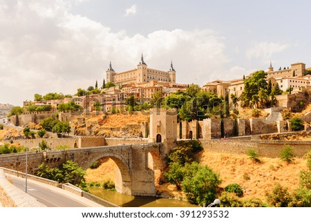 Paniramic view of Toledo, Spain, UNESCO World Heritage - stock photo