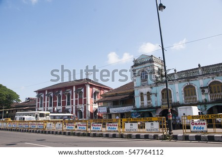 PANJIM, GOA, INDIA - 22 SEPTEMBER 2016 : Streets view of capital Goa, Old houses of the Portuguese and traffic, Transportation and architecture on the streets of Panjim.
