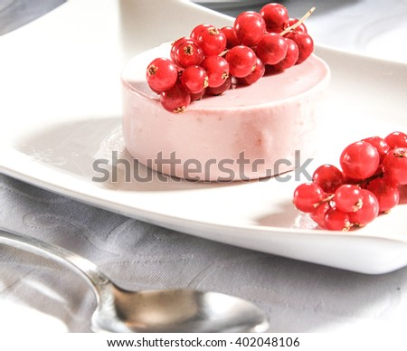 panna cotta with blueberries, raspberries and pomegranate - stock photo