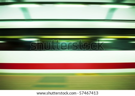 Panning on a moving fast train. - stock photo