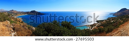 pano of Crete coastline, Greece - stock photo