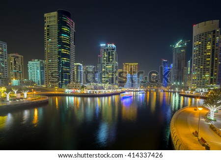 Panoram of night Dubai Marina