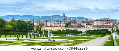 Panorama a baroque park at the Belvedere Castle in Vienna, Austria built as a summer residence for Prince Eugene of Savoy