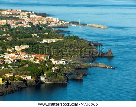 Panorama aerial on the sea and the home of village of the lemons coast in sicilia - stock photo