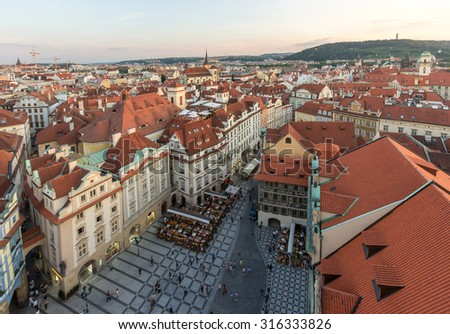 Panorama Aerial View of Prague Old Town Skyline at Dusk from Prague Astronomical Clock Tower - stock photo