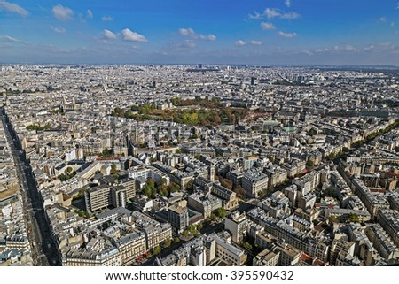 Panorama and aerial view of Paris, from Montparnasse tower. - stock photo