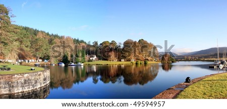 Panorama at Gairlochy on the Caledonian Canal.
