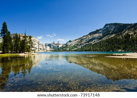 panorama at lake tenaya in yosemite national park, california, usa